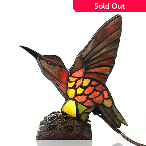 432 977 Tiffany Style 9 Hummingbird Stained Gl Accent Lamp