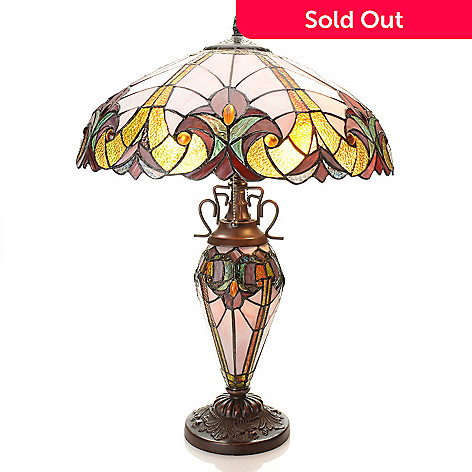 Tiffany style 245 halston double lit stained glass table lamp evine 434 682 tiffany style 245 halston double lit stained glass table lamp aloadofball