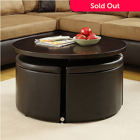 Homebasica Adjustable Height Cocktail Table W Four Storage Ottomans - Adjustable height cocktail table