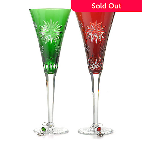 818ea49f42e1 437-352- Waterford Crystal Snowflake Wishes 8 oz Ruby Joy & Emerald Courage  Flute