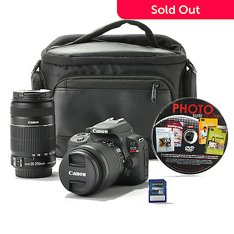Canon EOS Rebel SL1 18MP DSLR Camera w/ Two IS Lenses, Bag, 16GB SD Card &  4-Title Software