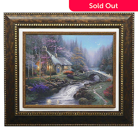 Pleasant Thomas Kinkade Twilight Cottage Framed Textured Print Home Interior And Landscaping Ologienasavecom