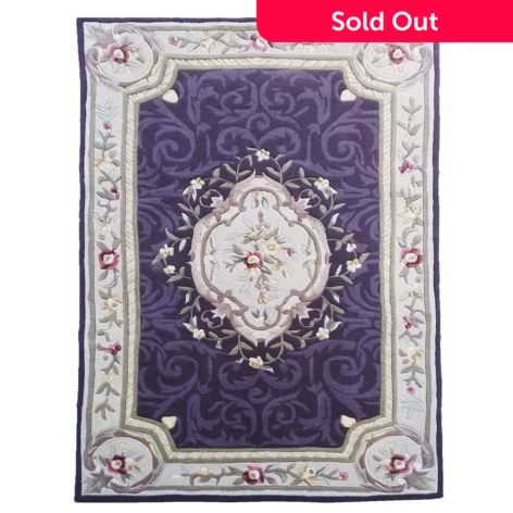Global Rug Gallery Aubusson Style Floral Scrollwork Hand Tufted
