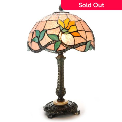 Tiffany Style 20 Pastel Petals Stained Glass Marble Base Table Lamp