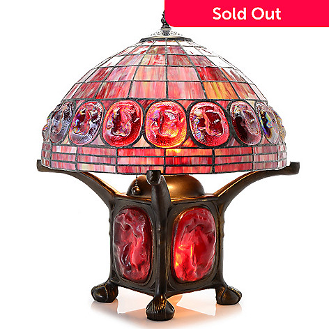 Tiffany style 20 turtleback double lit stained glass table lamp evine 442 012 tiffany style 20 turtleback double lit stained glass table lamp aloadofball Image collections