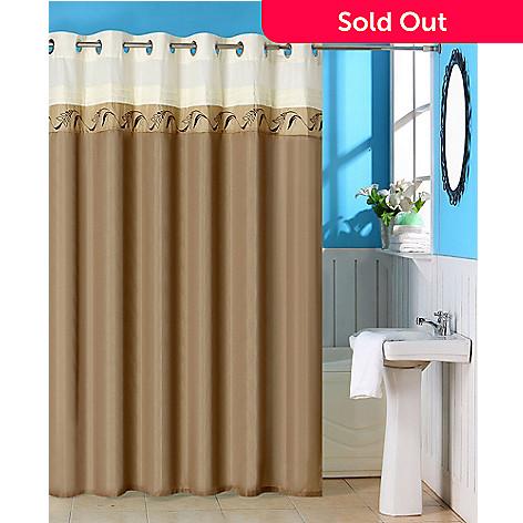 442 366 Lavish Home Abilene Embroidered Shower Curtain W Grommets