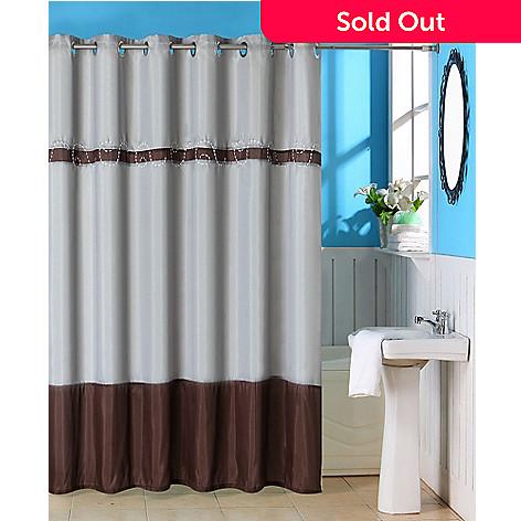442 367 Lavish Home Claridge Embroidered Shower Curtain W Grommets