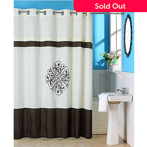 442 368 Lavish Home Lewiston Embroidered Shower Curtain W Grommets