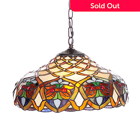 Tiffany Style 53 Arielle Geometric Stained Glass Hanging Lamp