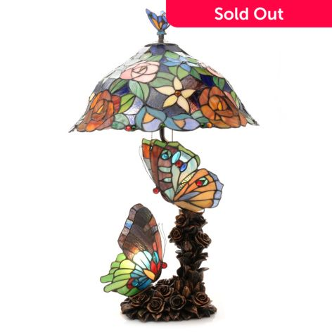 Tiffany Style 28 Sweet Serenity Butterfly Triple Lit Stained Glass