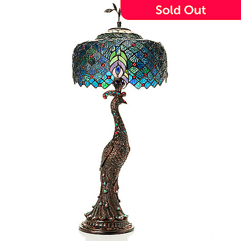 Tiffany Style 29 Jeweled Harlequin Peacock Stained Glass Table Lamp