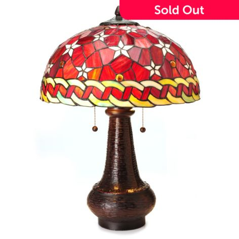 Tiffany Style 22 Red Star Dome Shaped Stained Glass Table Lamp Evine