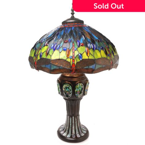 Tiffany Style 35 Hanging Head Dragonfly Double Lit Stained Glass