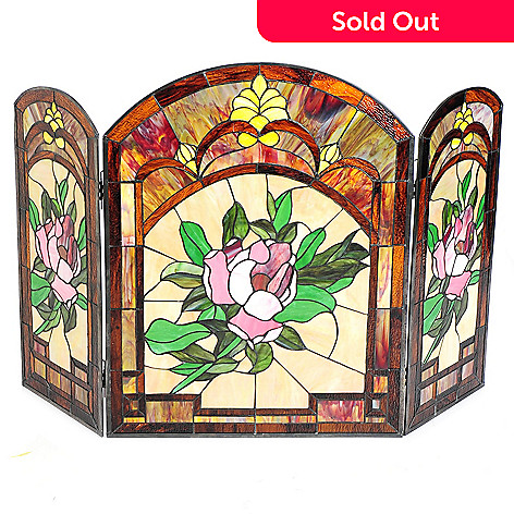 447 780 Tiffany Style 42 Blooming Roses Stained Gl Fireplace Screen