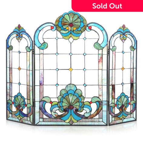 Tiffany Style 40 Iced Baroque Style Stained Glass Fireplace Screen