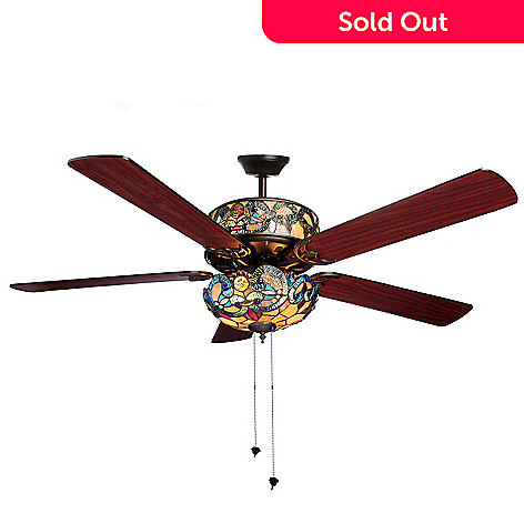 Tiffany style 52 corrista double lit stained glass ceiling fan evine 450 688 tiffany style 52 corrista double lit stained glass ceiling fan aloadofball Images