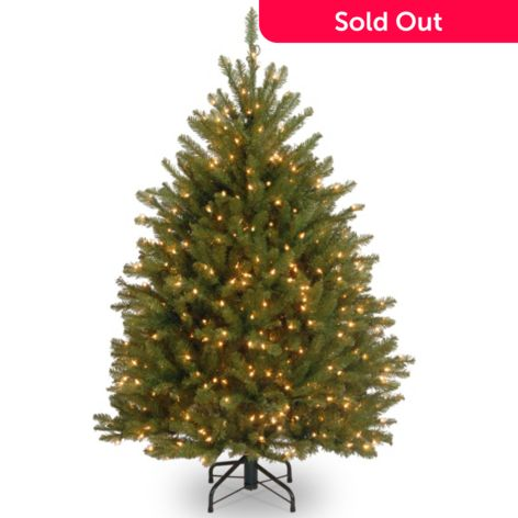 Pre Lit Christmas Tree.4 5 Faux Dunhill Fir Hinged Pre Lit Christmas Tree