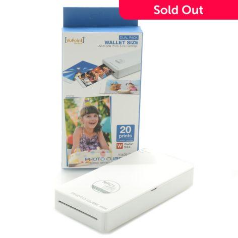 Vupoint Photo Cube Mini Wireless Smart Pocket Printer W 20ct Refill