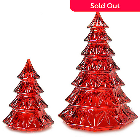 """451-798- Marquis by Waterford 3.5"""" & 6.5"""" Crystal Holiday Tree Set"""