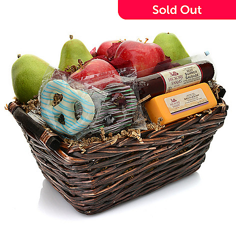 452-822- Hickory Farms Assorted Fruit, Cheese, Sausage & Pretzel Gift Basket