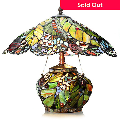 Tiffany style 175 rainforest double lit stained glass table lamp 454 472 tiffany style 175 rainforest double lit stained glass table lamp aloadofball Choice Image
