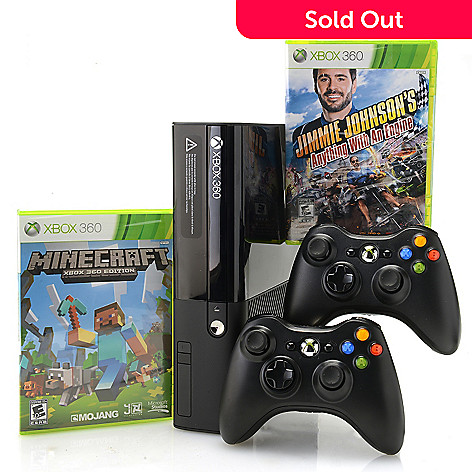XBOX 360 E 4GB Gaming Console w/ Two Controllers, Three Games & Accessories