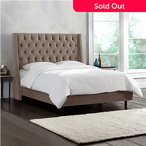 fdf9d61f944e 458-049- Skyline Furniture Nail Button Tufted Wingback Bed