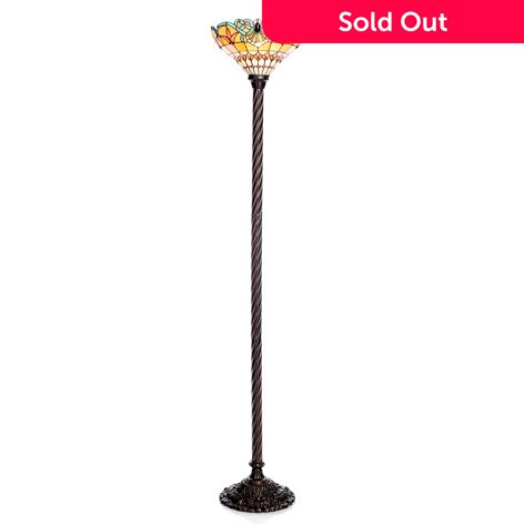 Tiffany Style 68 Classic Cleo Stained Glass Torchiere Floor Lamp