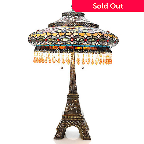 Tiffany style 25 parisian stained glass table lamp w eiffel tower 459 611 tiffany style 25 parisian stained glass table lamp w aloadofball Image collections