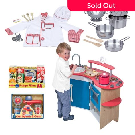 Melissa & Doug Let\'s Play Chef Cook\'s Corner Kitchen & Accessory Set