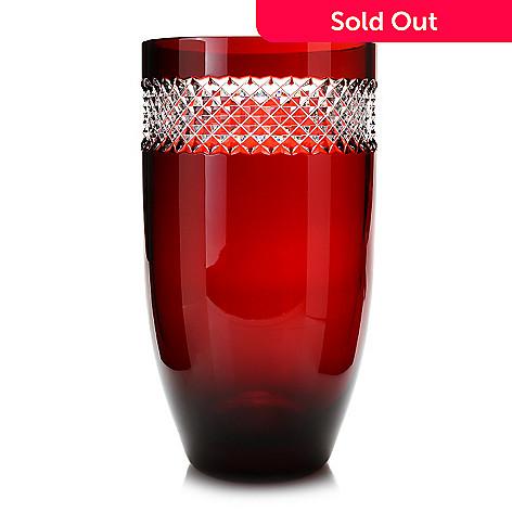 Waterford Crystal By John Rocha 12 Diamond Cut Red Vase Evine