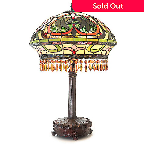 Tiffany Style 25 Beaded Lotus Stained Glass Footed Table Lamp Evine