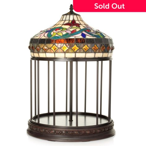 Tiffany Style 21 Stained Glass Bird Cage Table Lamp Evine