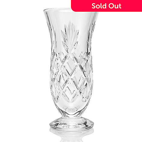 Waterford Crystal Woodmont 8 Cross Fan Cut Footed Vase Evine