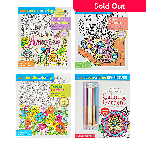 Zendoodle Set Of Four Coloring Books W Six Two Sided Colored