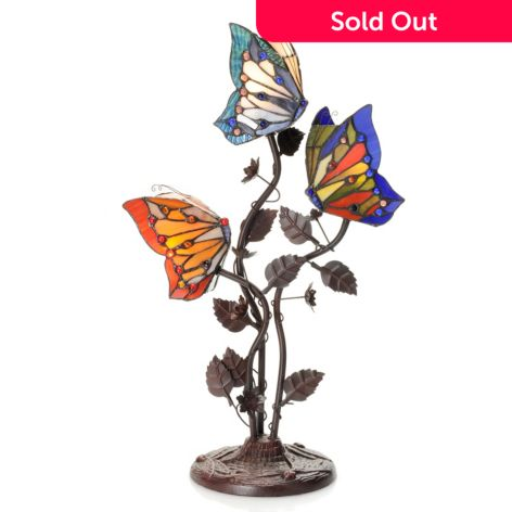 Tiffany Style 22 Butterfly Trio Triple Lit Stained Glass Table Lamp