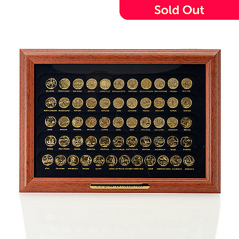 30c57ad6e The Franklin Mint 1999-2009 BU 24K Gold Plated 56-Piece Framed State ...