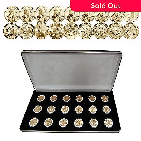 e884c94d6 The Franklin Mint 2000-2017 Golden Dollar BU 18-Piece Sacagawea Coin ...
