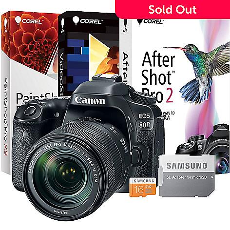 Canon EOS 80D 24 2MP DSLR Wi-Fi Camera w/ Accessories