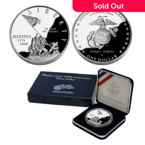 The Franklin Mint 2005 Silver Dollar Marine Corps 230th Anniversary Proof  Philadelphia Coin
