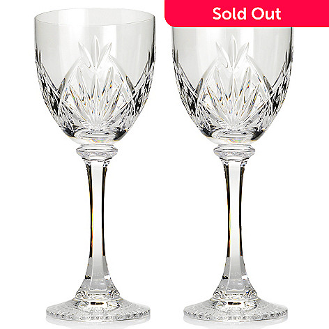 6d6c1b58e0b Waterford Crystal Emilia Set of 2 (12 oz) Fan   Wedge Cut Goblets ...