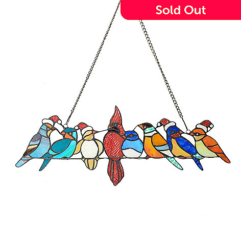 Tiffany Style 23 Birds On A Wire Christmas Edition Stained Glass