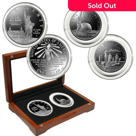 The Franklin Mint 1986 Silver Statue of Liberty 100th Anniversary Proof S -  Coin Set w/ Box