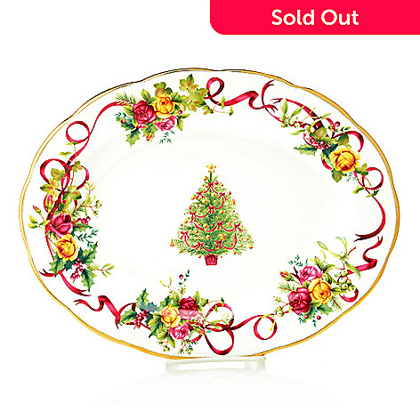 Royal Albert Old Country Roses Christmas Tree 13 75 22k Gold Accented Platter