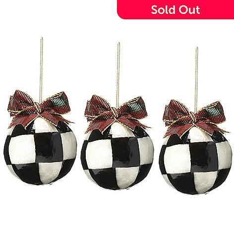 471-648- MacKenzie-Childs Set of 3 Handmade Jester Fancy Ornaments