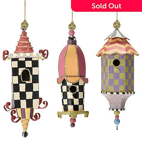 "471-649- MacKenzie-Childs Set of 3 (6"") Handmade Birdhouse Ornaments"