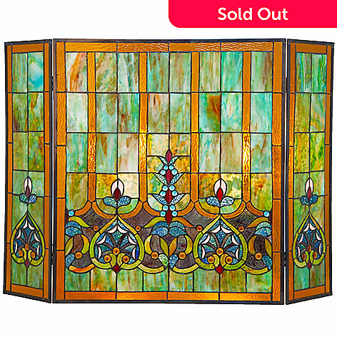 472 405 Tiffany Style 26 Webbed Heart Stained Gl Fireplace Screen