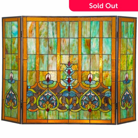 Tiffany Style 26 Webbed Heart Stained Glass Fireplace Screen Evine