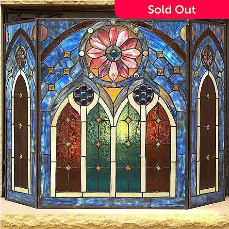 472 415 Tiffany Style 27 5 European Inspired Cathedral Stained Gl Fireplace Screen