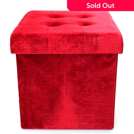Collections Of Red Leather Cube Ottoman